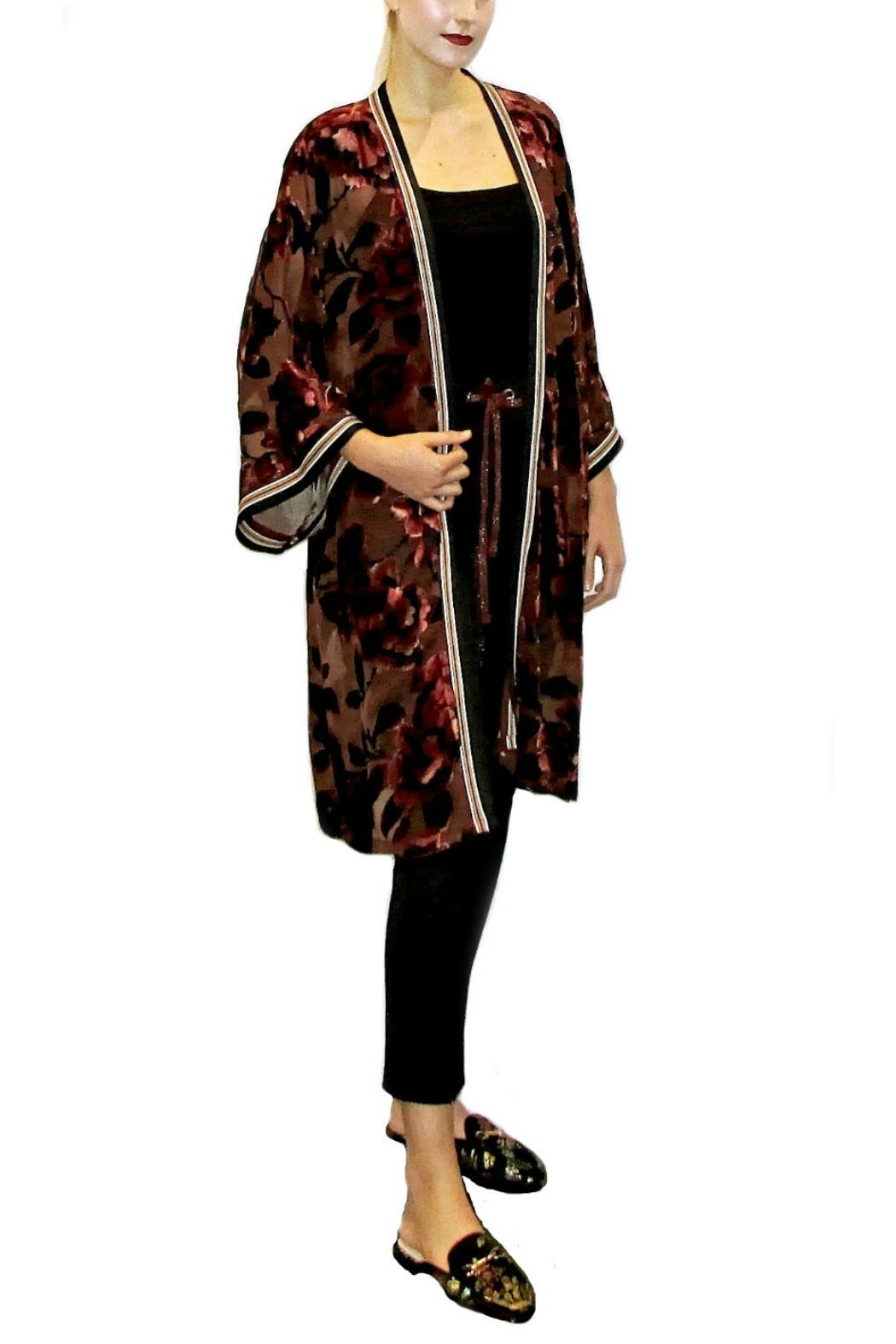 Maryley Floral Velvet Duster - Front Cropped Image