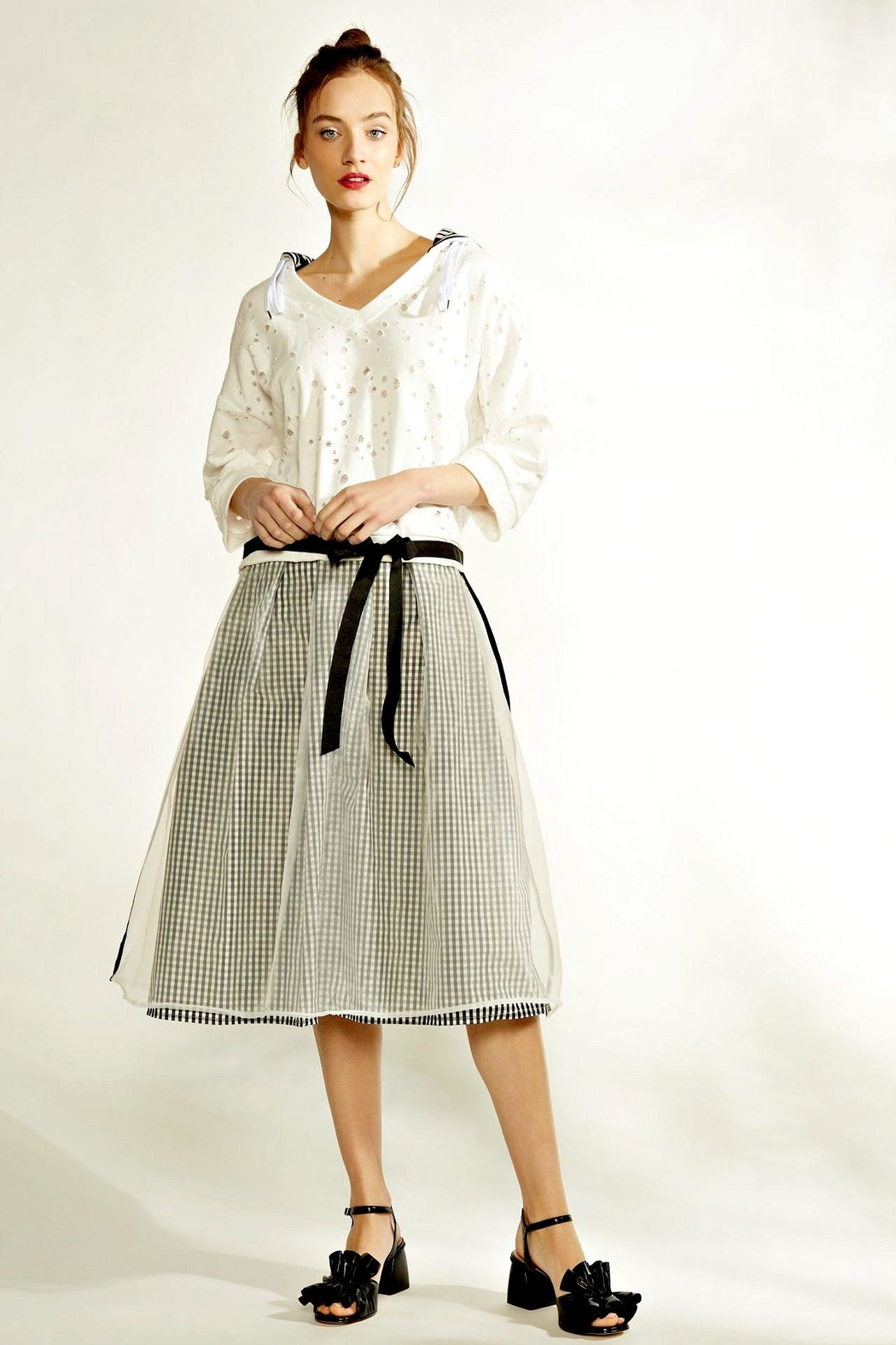 Maryley Gingham Chiffon Skirt - Front Cropped Image
