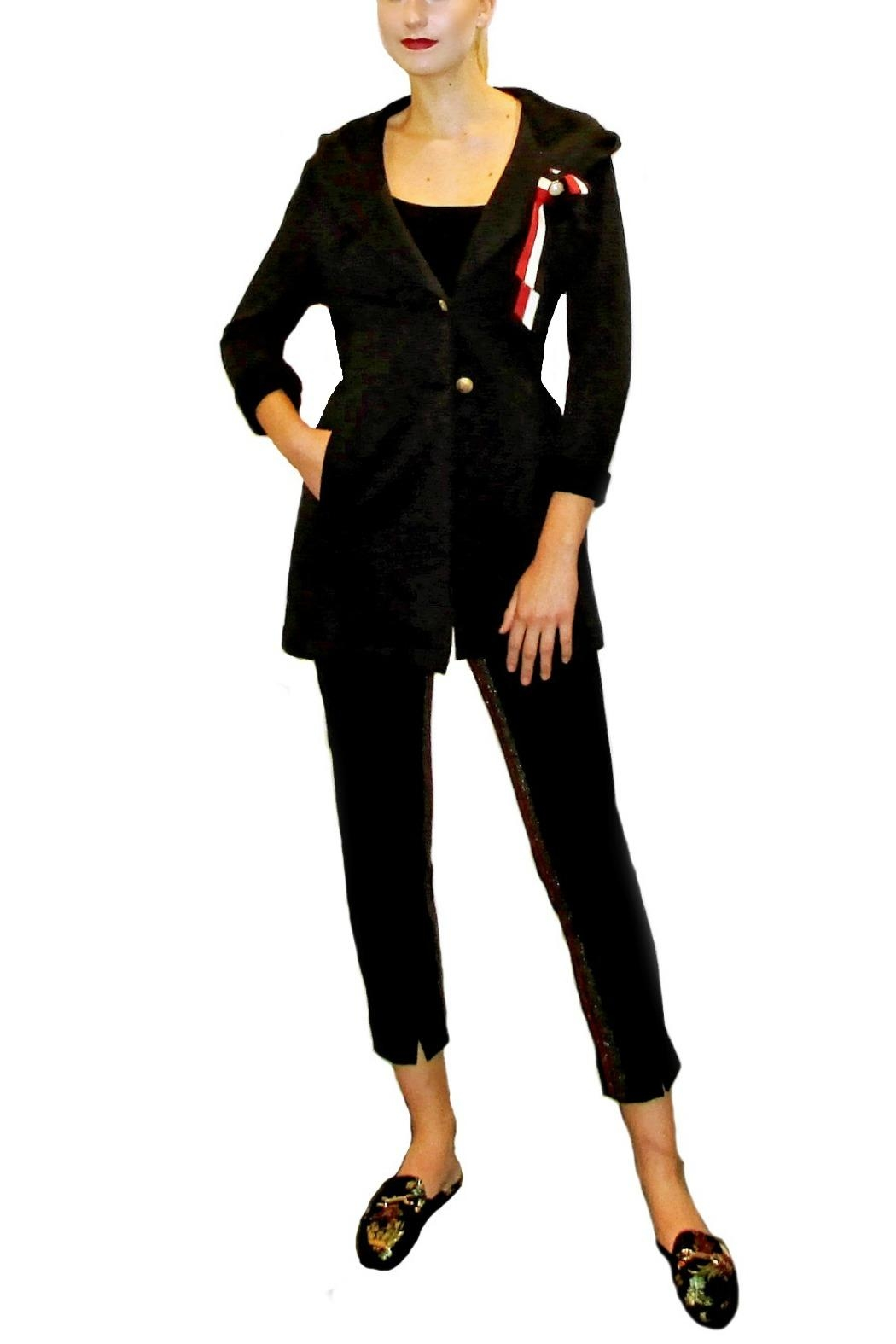 Maryley Knit Hoodie Blazer - Front Cropped Image