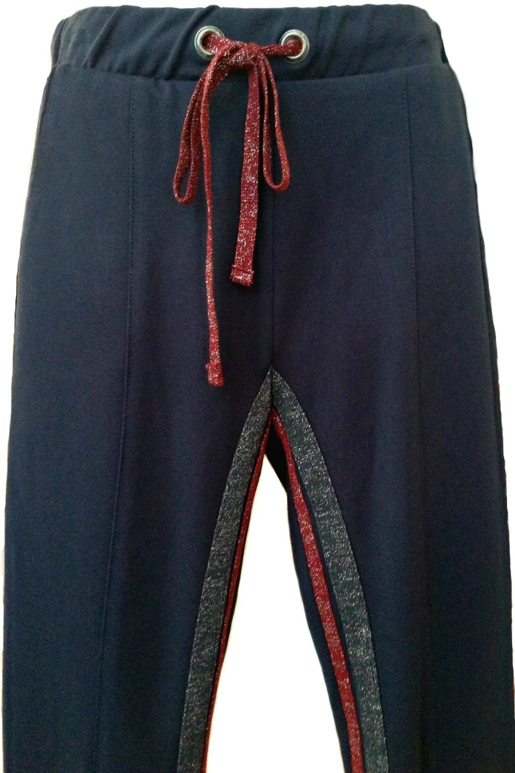 Maryley Navy Drawstring Pants - Front Full Image