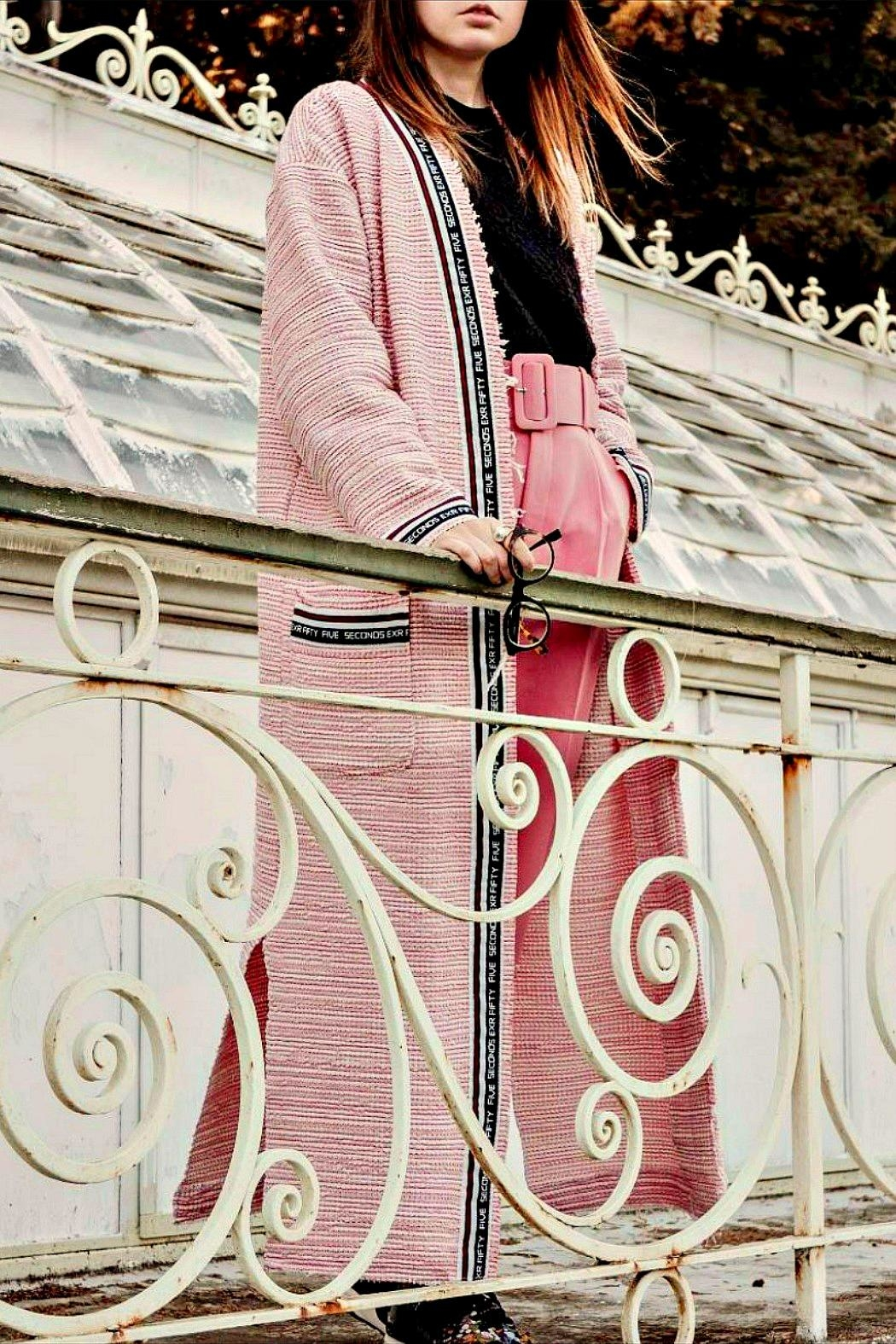 Maryley Pink Tweed Duster - Main Image