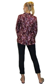 Maryley Wine Floral Blazer - Front full body
