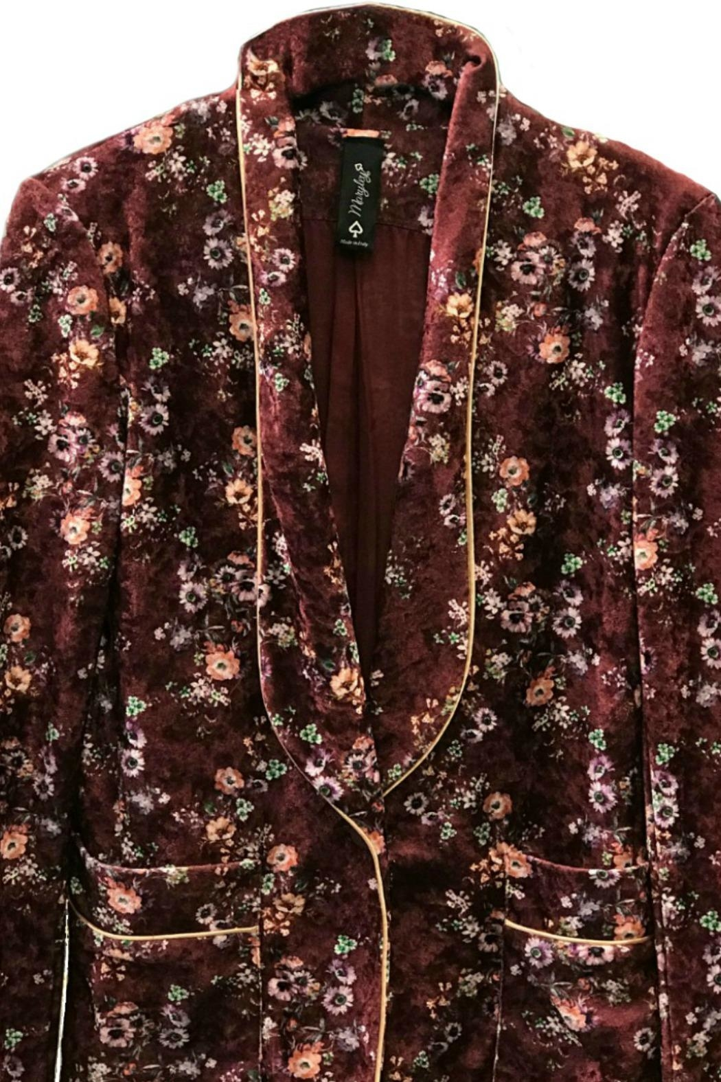 Maryley Wine Floral Blazer - Side Cropped Image