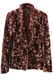 Maryley Wine Floral Blazer - Front cropped