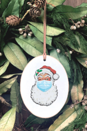 Clairmont & Co Masked Santa Ornament - Front cropped
