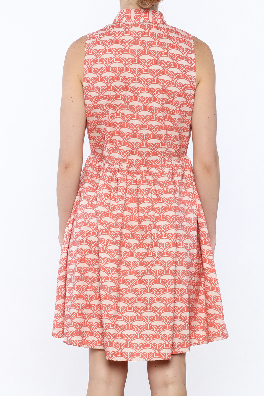 Mata Traders Coral Button-Down Dress - Back Cropped Image