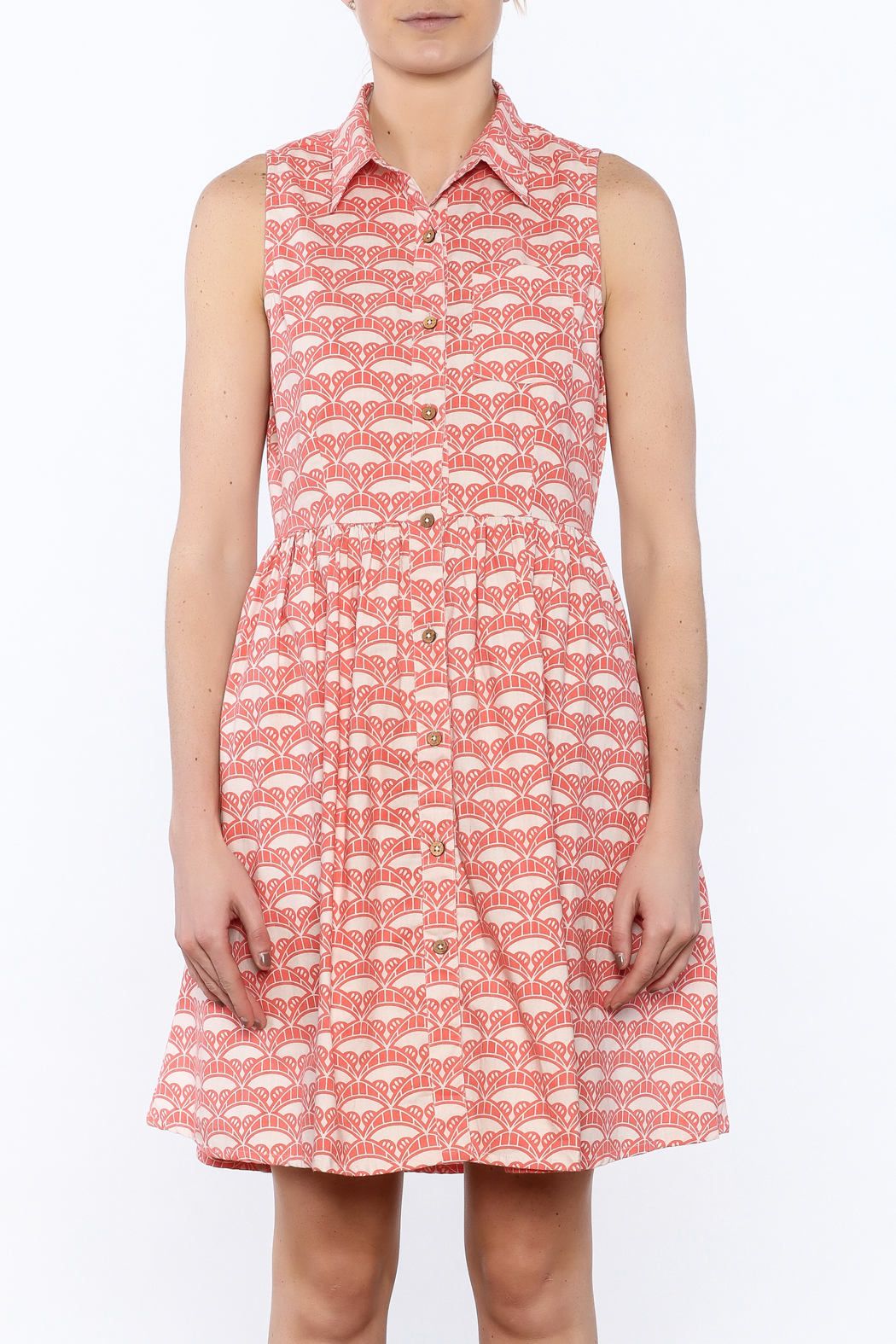 Mata Traders Coral Button-Down Dress - Side Cropped Image