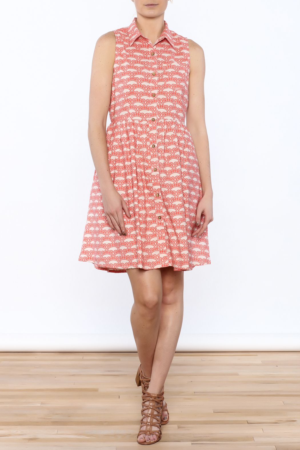 Mata Traders Coral Button-Down Dress - Front Full Image