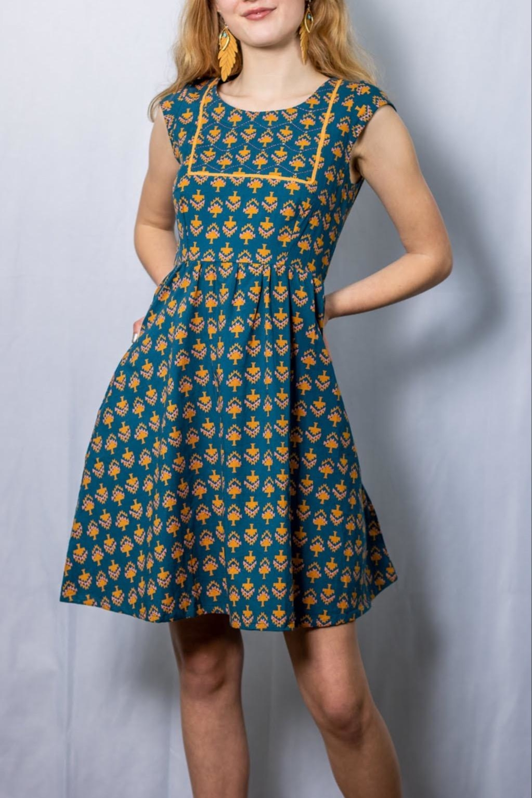 Mata Traders Belltown Aqua Dress - Front Cropped Image