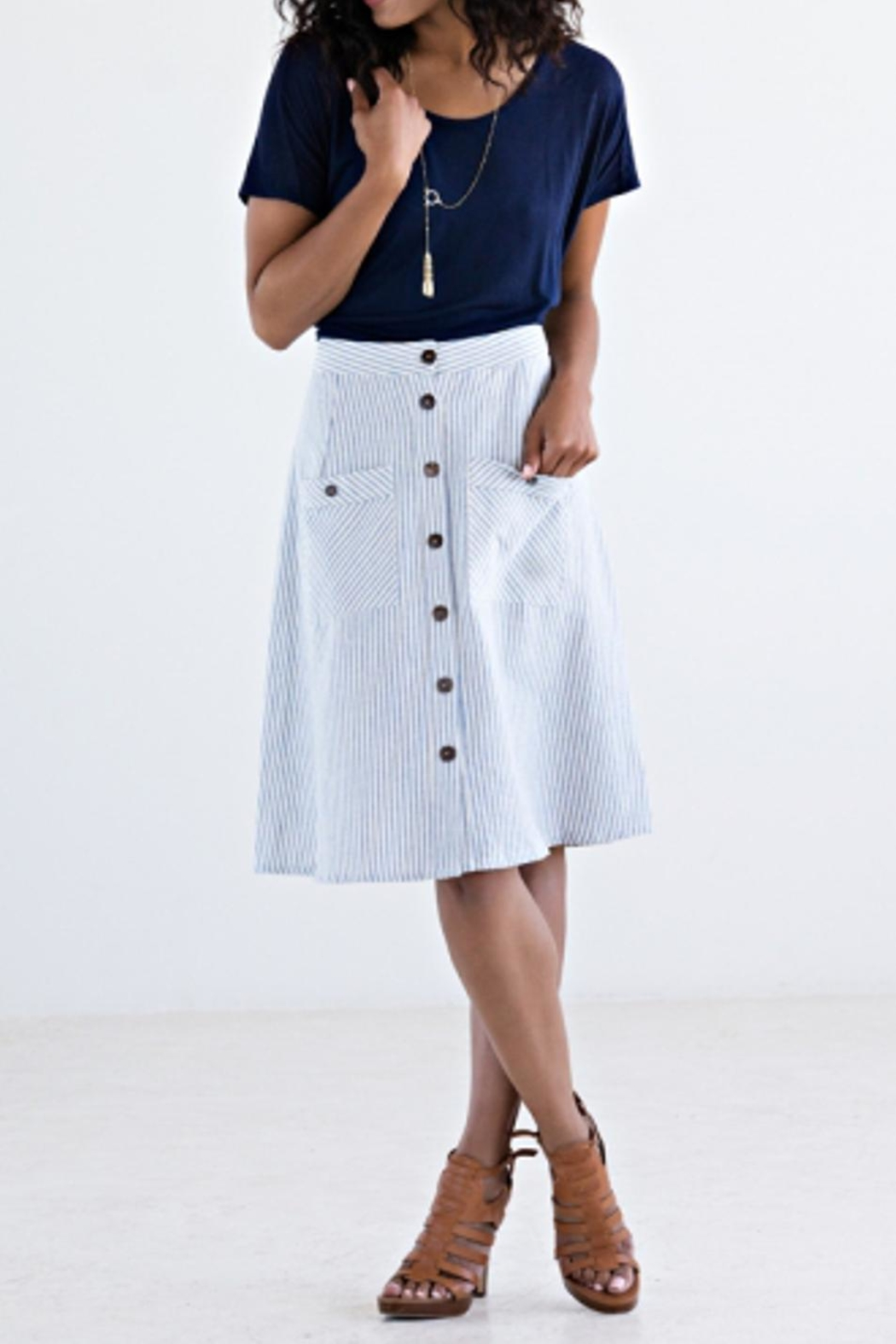 Mata Traders Blue Stripe Skirt - Front Cropped Image