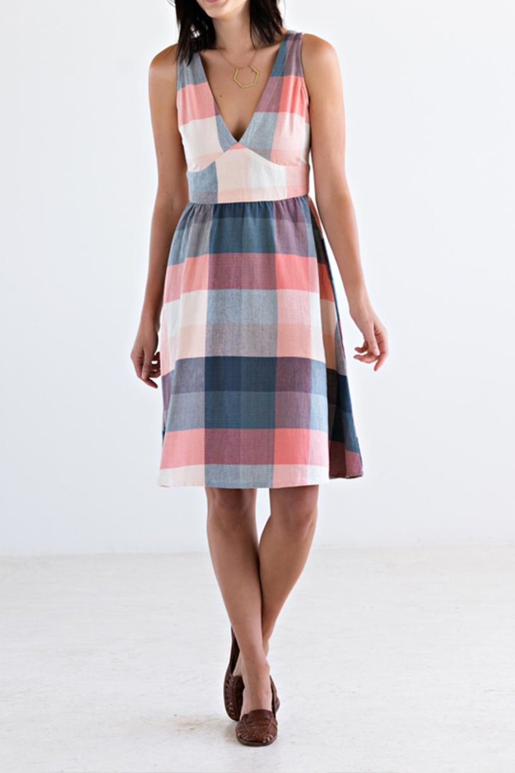 Mata Traders Pink Plaid Dress - Front Cropped Image