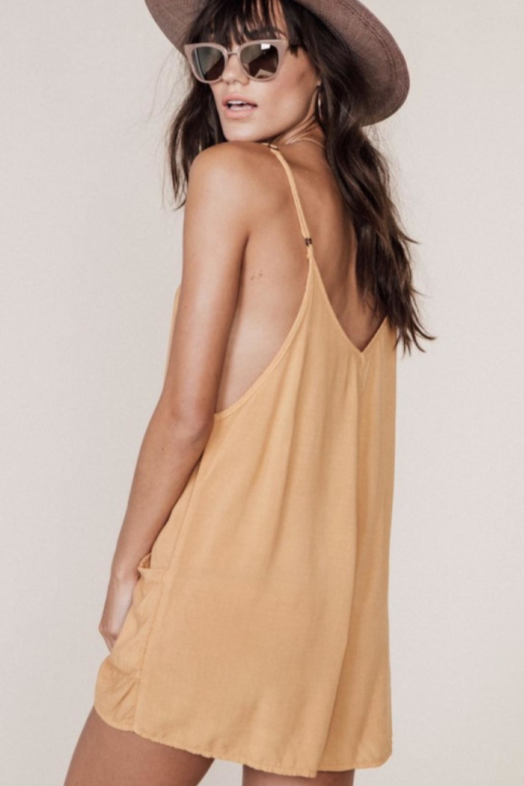 MATE the label Tan Tank Romper - Side Cropped Image