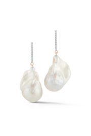 Mateo  Gold Baroque Pearl and Diamond Earrings - Front full body