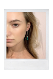 Mateo  Yellow Gold and Malachite Drop Bar Earrings - Front cropped
