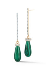 Mateo  Yellow Gold and Malachite Drop Bar Earrings - Front full body