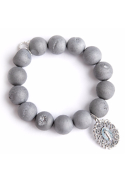 Powerbeads by Jen Matte Druzy Agate with Blessed Mother - Product Mini Image