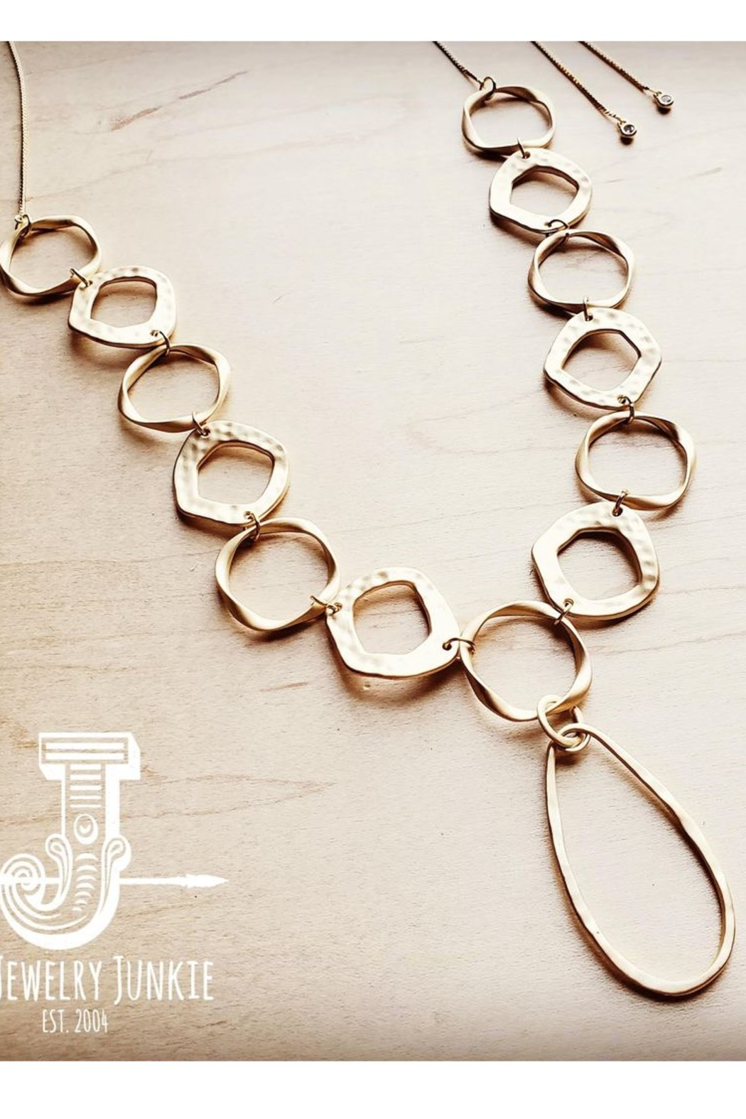 Jewelry Junkie Matte Gold Long Necklace - Front Full Image