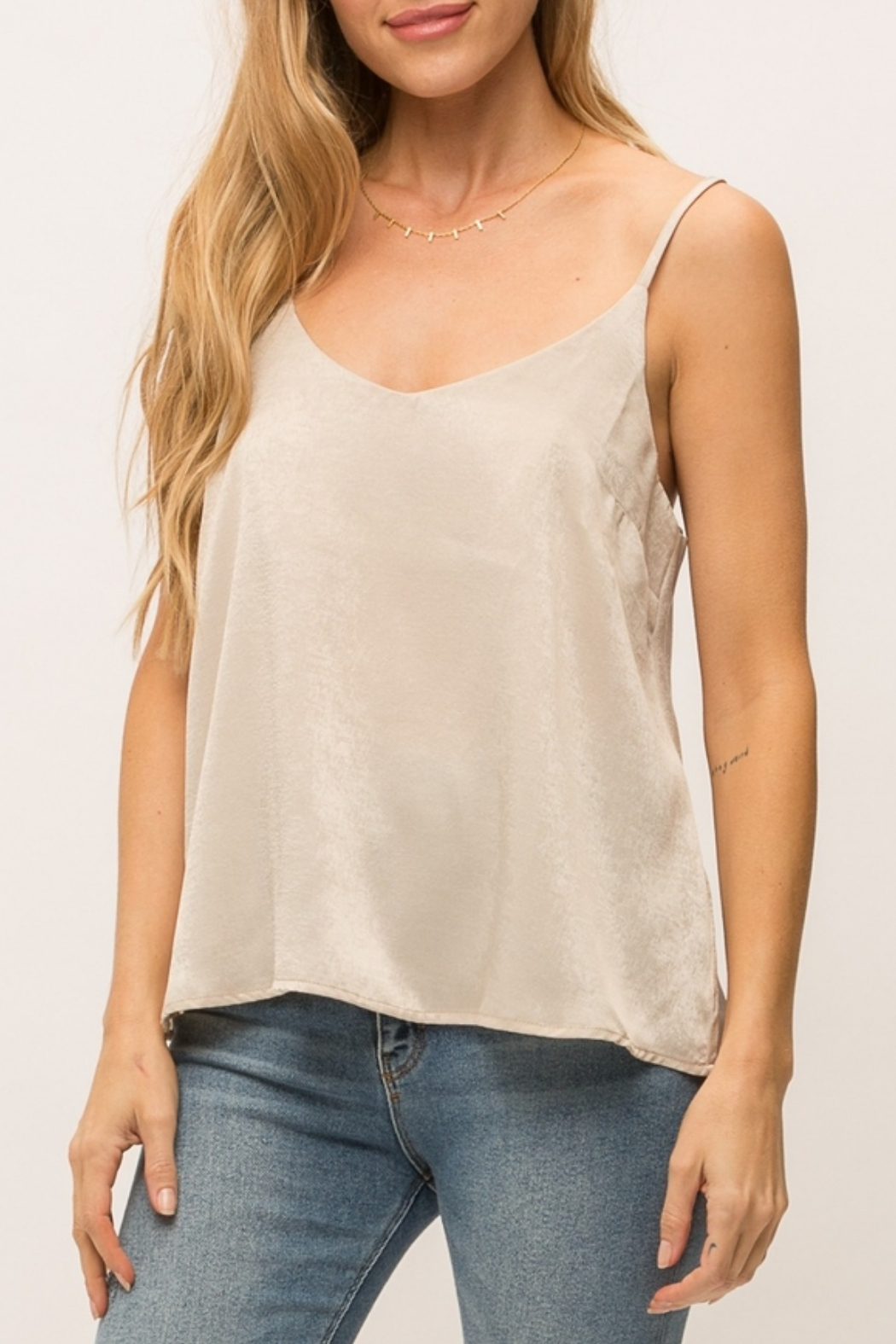 Mystree Matte Satin Tank - Front Cropped Image