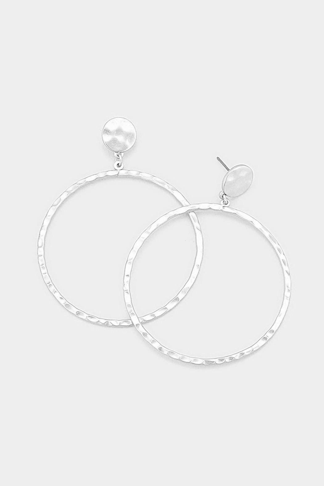 Wild Lilies Jewelry  Matte Silver Hoops - Main Image