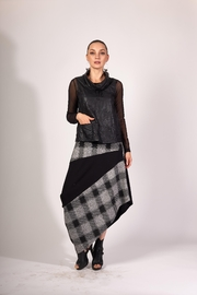 Matti Mamane Asymmetrical Black And Checker Grey Skirt - Front cropped