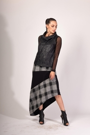 Matti Mamane Asymmetrical Black And Checker Grey Skirt - Back cropped