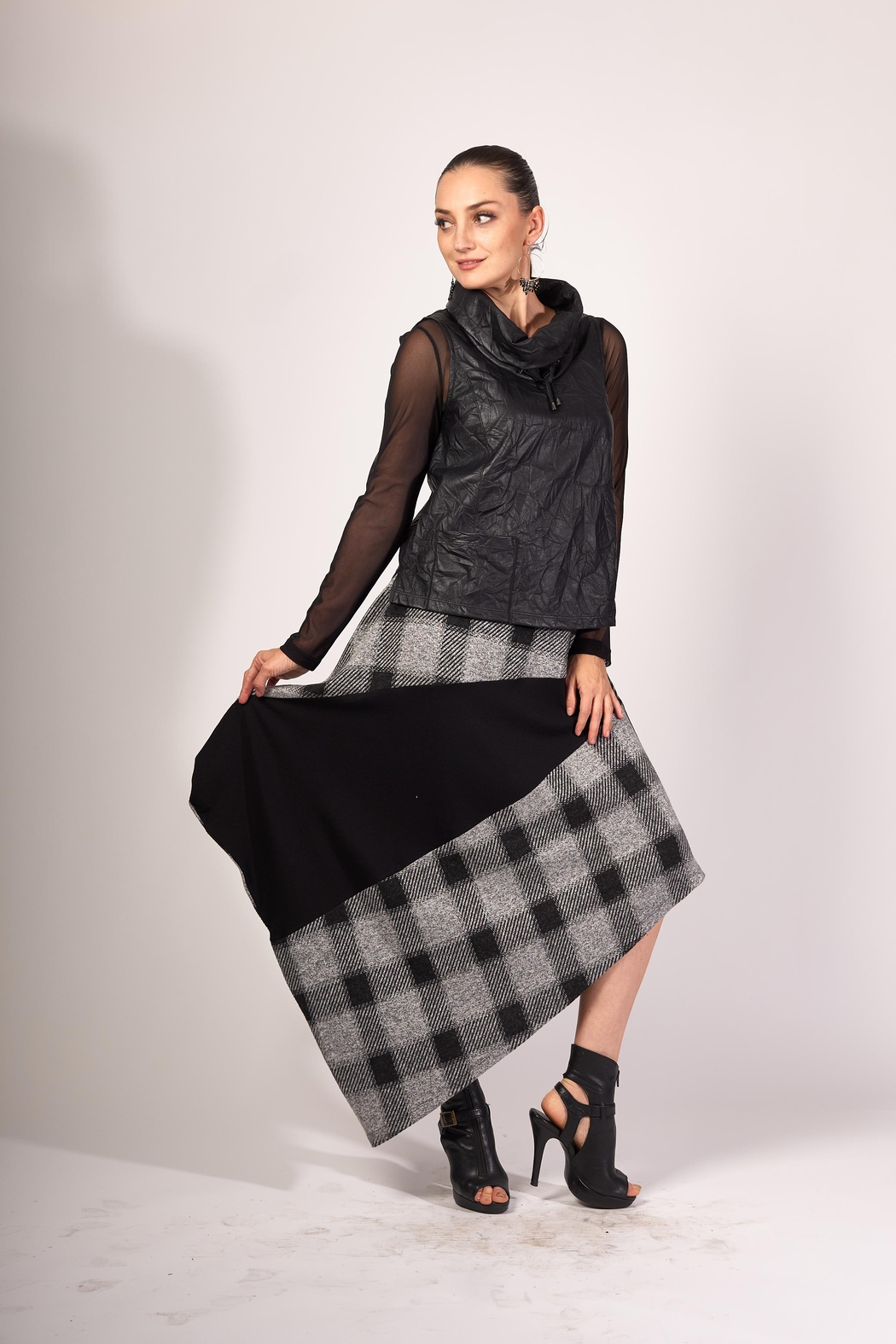 Matti Mamane Asymmetrical Black And Checker Grey Skirt - Front Full Image