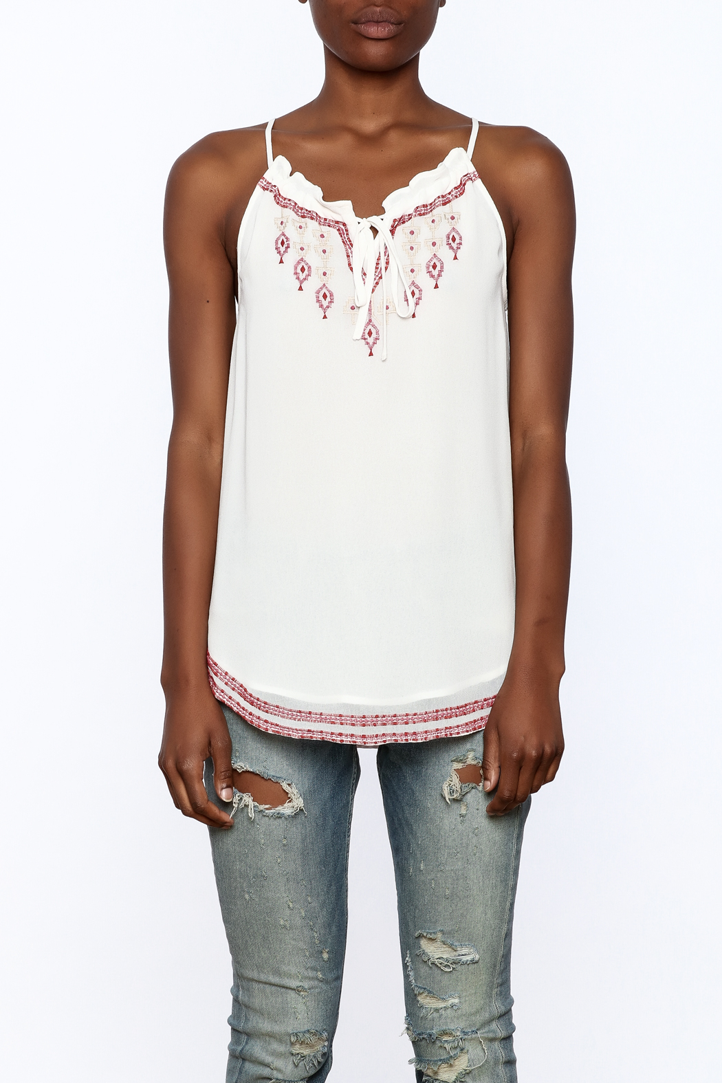 Matty M Embroidered Keyhole Tank - Side Cropped Image