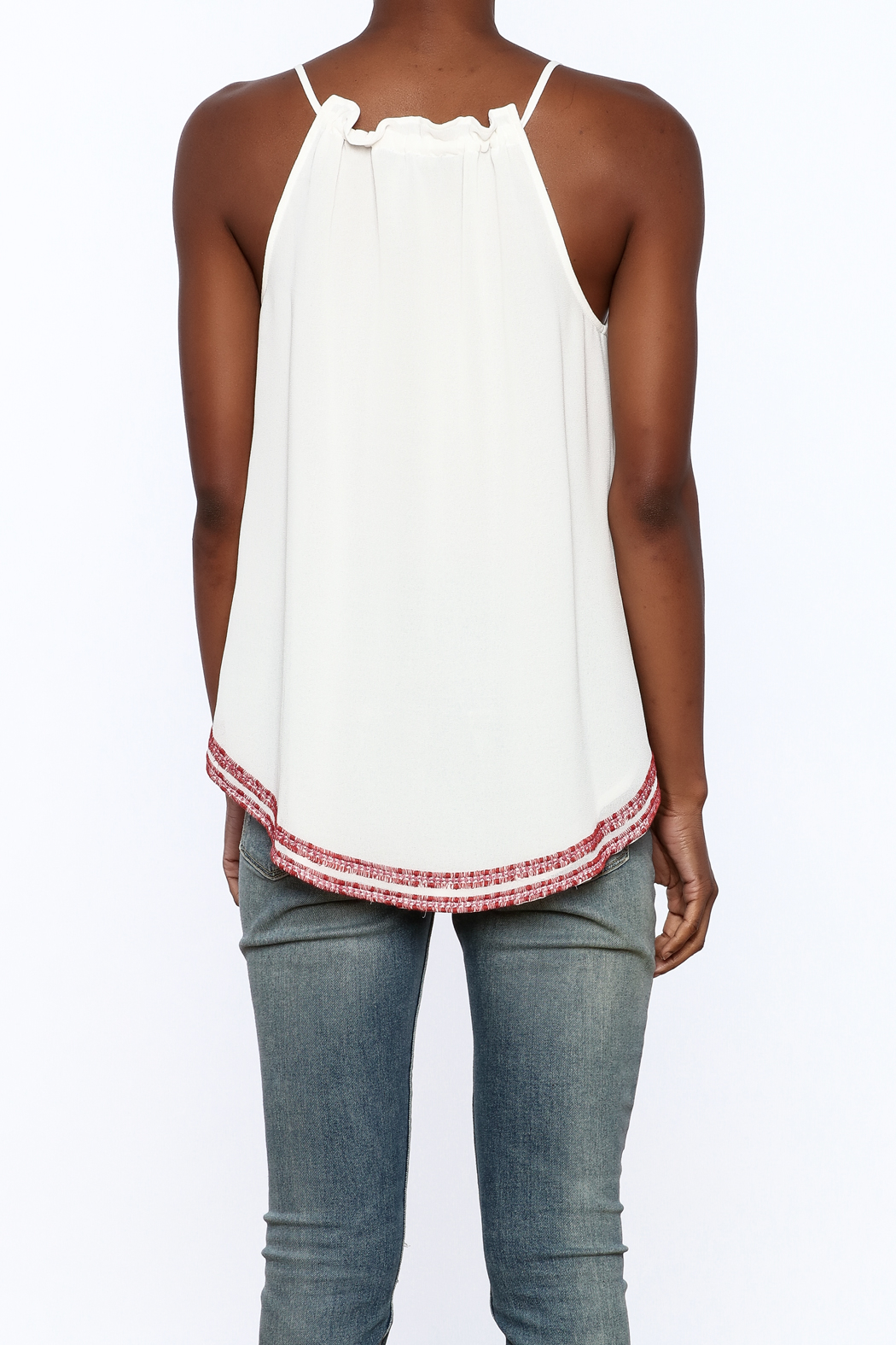 Matty M Embroidered Keyhole Tank - Back Cropped Image