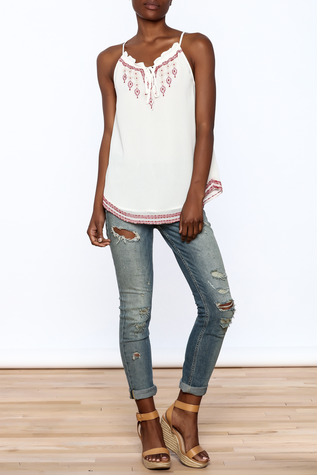 Matty M Embroidered Keyhole Tank - Front Full Image
