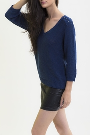 Maude Navy V Neck Sweater - Front full body