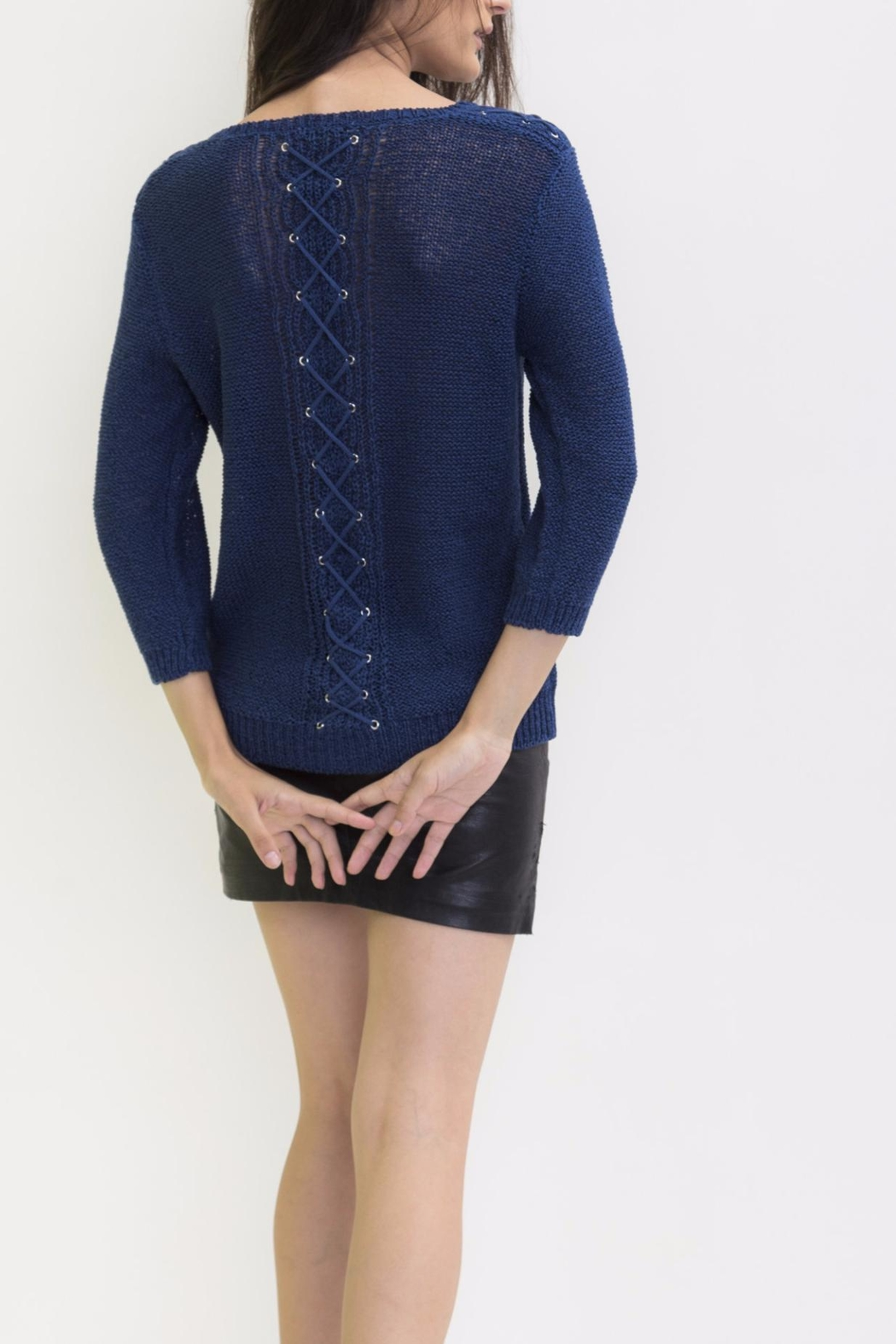 Maude Navy V Neck Sweater from Saratoga by Laura M — Shoptiques