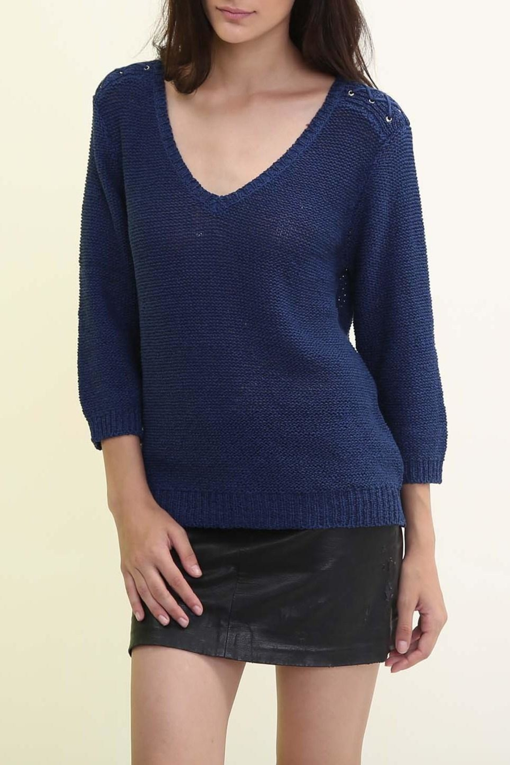 Maude Navy V Neck Sweater - Front Cropped Image