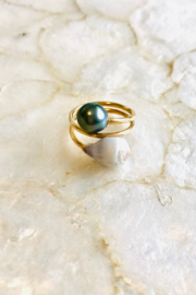 Maui Ocean Jewelry Maui Shell + Tahitian Pearl Wrap Ring - Product Mini Image