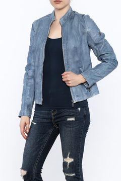 Shoptiques Product: Chalk Blue Leather Jacket
