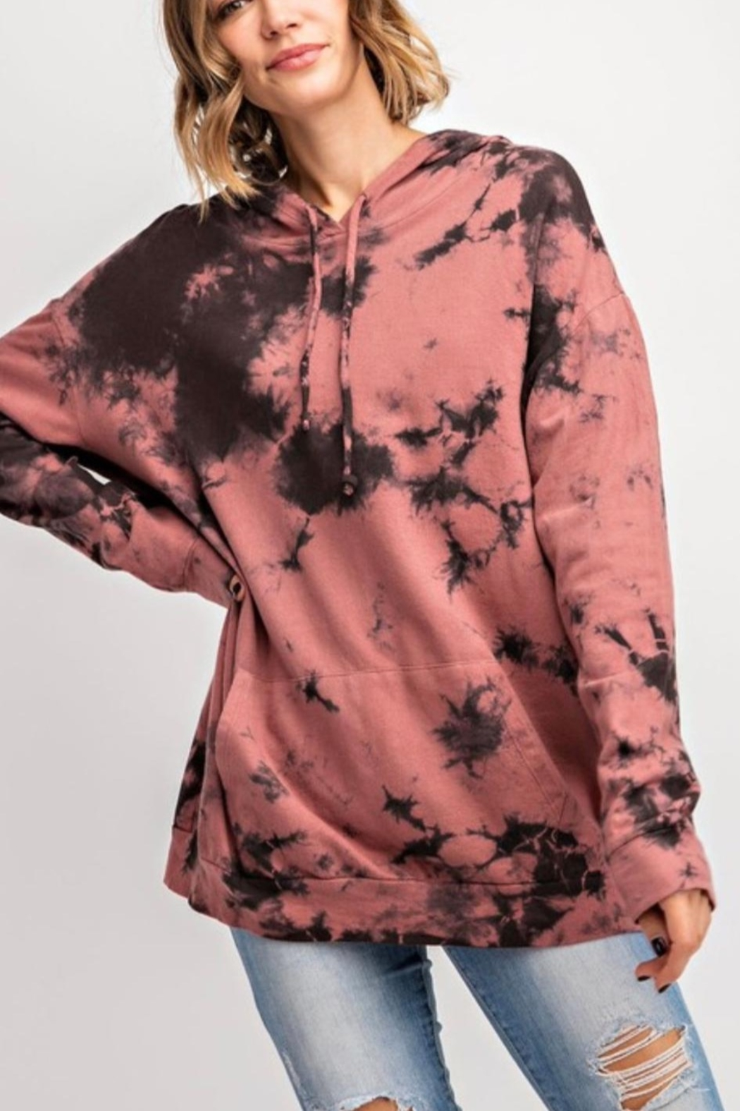 143 Story MAUVE COLOR CLOUD TIE DYE TOP WITH HOODIE - Main Image
