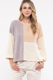 blue pepper  Mauve  Cream gray color block sweater - Front cropped