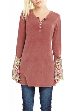 Shoptiques Product: Mauve Embroidered Henley