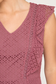 She & Sky  Mauve eyelet lace dress with flutter sleeves - Product Mini Image