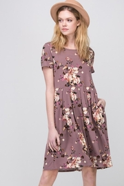 Les Amis Mauve-Floral Pocket Dress - Front full body
