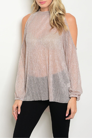 Sweet Claire Mauve Metallic Sheer Top - Front cropped