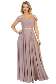 Let's Mauve Off Shoulder Chiffon Formal Long Dress - Product Mini Image