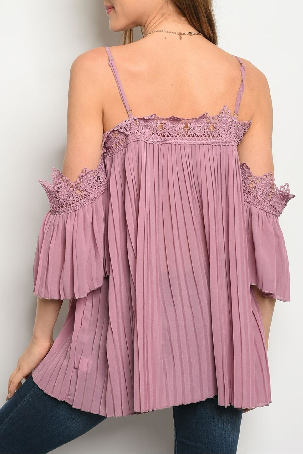 easel Mauve Pleated Top - Front Full Image