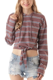 ijoah Mauve Striped Hoodie - Product Mini Image