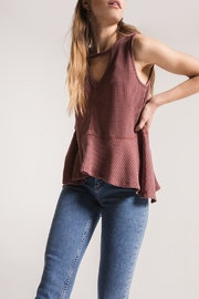 Others Follow  Mauve Thermal Sleeveless with Peplum Top - Front full body