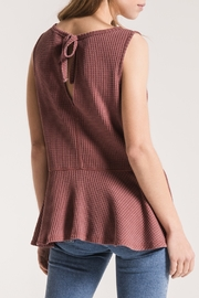 Others Follow  Mauve Thermal Sleeveless with Peplum Top - Back cropped