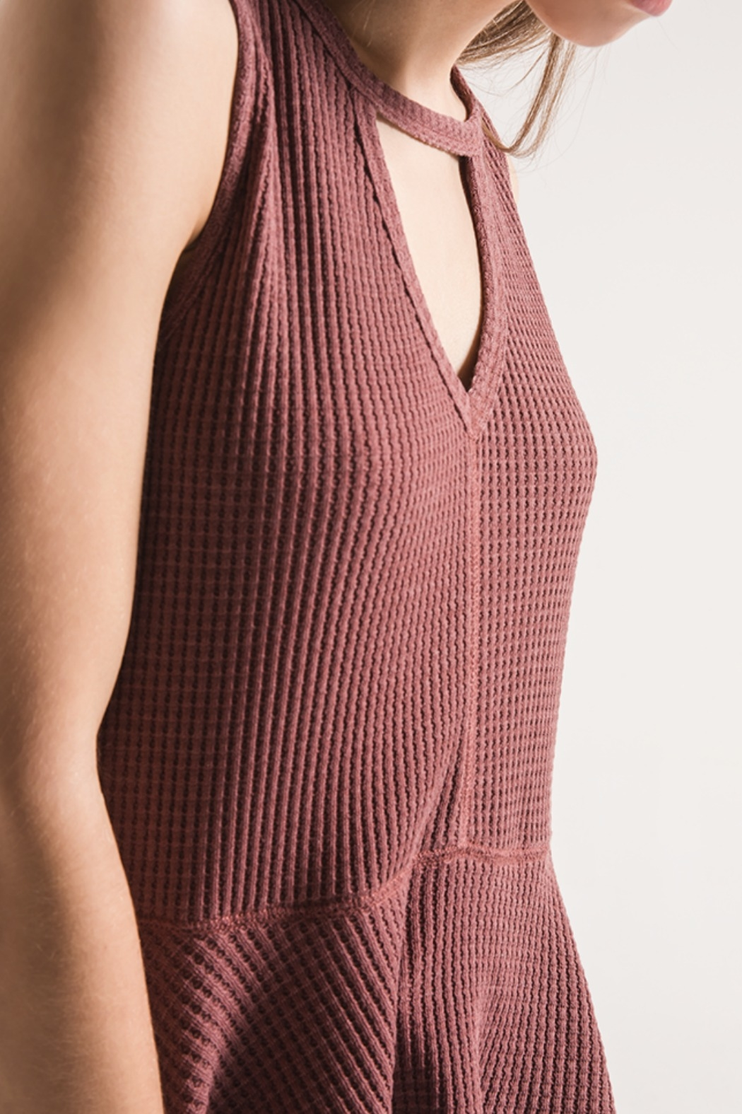 Others Follow  Mauve Thermal Sleeveless with Peplum Top - Side Cropped Image