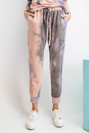 easel  Mauve Tie Dye french terry knit jogger pants with coordinating top available - Product Mini Image