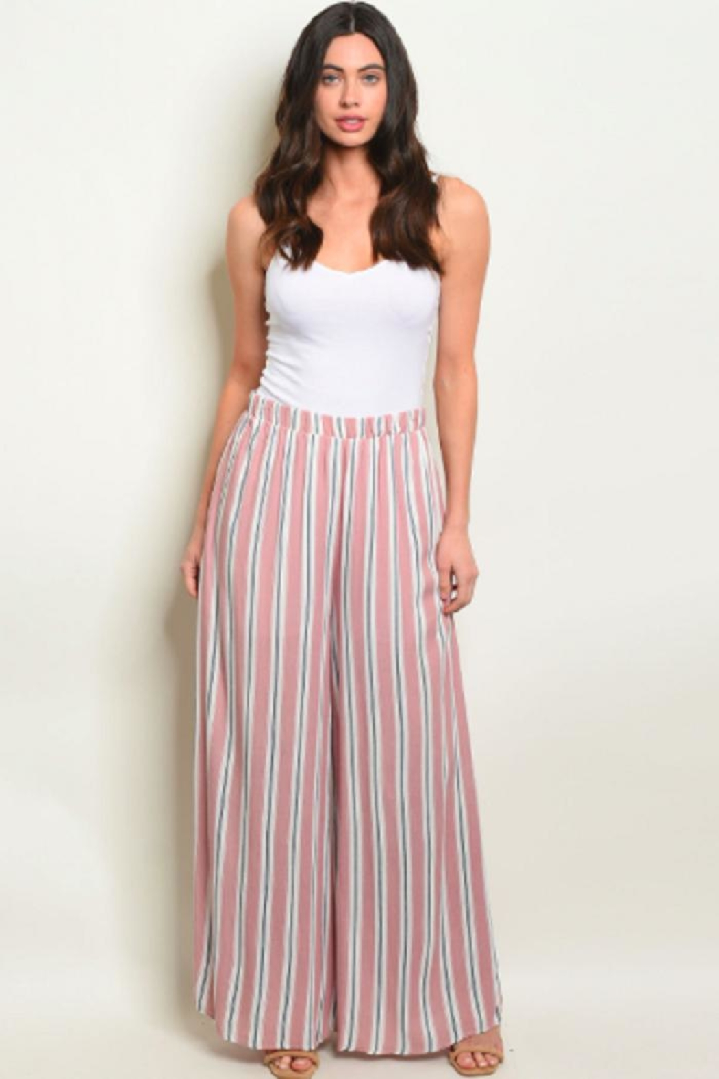 Love in  Mauve Wide-Leg Pants - Front Cropped Image