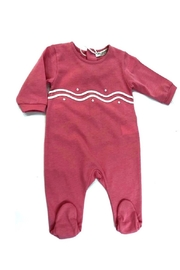 LA MASCOT  BABY FOOTIE WITH SCALLOPED EMBROIDERY - Front cropped
