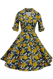 Mavis and Bob Ava Mustard Rose Dress - Product Mini Image